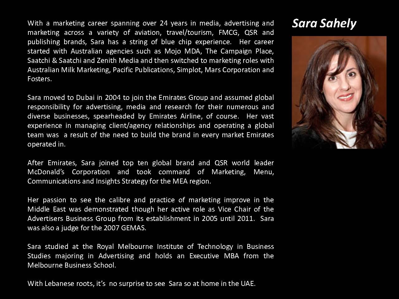 Sara Sahely Bio 2015