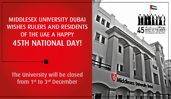 Middlesex University Dubai wishes all U.A.E residents a Happy 45th National day!